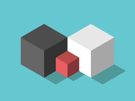 Two isometric big opposite white and black parent cubes, red small child one. Family, relationship, marriage, childhood concept. Flat design. EPS 8 vector illustration, no transparency, no gradients Stok Fotoğraf - 137784803
