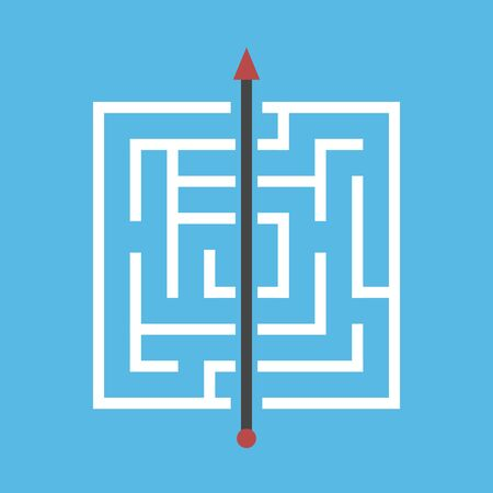 Square maze, shortcut through walls. Simple efficient solution of dfficult problem, breakthrough, obstinacy, creativity concept. Flat design. EPS 8 vector illustration, no transparency, no gradients Stock Illustratie