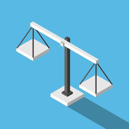 Isometric simple empty weight scales on blue background. Balance, comparison, justice, equilibrium and measure concept. Flat design. EPS 8 vector illustration, no transparency