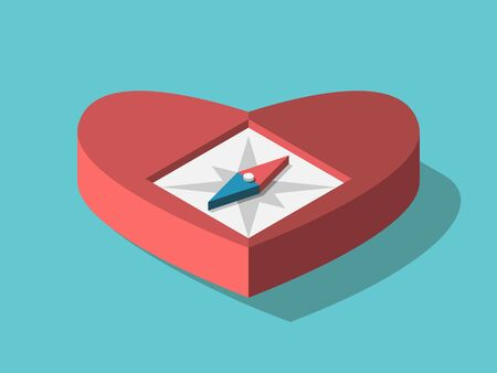 Isometric heart shaped compass on turquoise blue. Intuition, emotion, feeling, dream, romance, love and exploration concept. Flat design. EPS 8 vector illustration, no transparency, no gradients