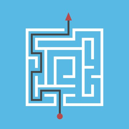 Square maze solved, way from entrance to exit on blue background. Solution, problem, strategy, challenge and game concept. Flat design. EPS 8 vector illustration, no transparency, no gradients