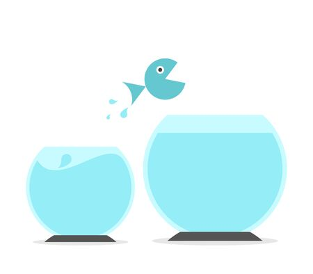 Fish jumping from small to big fishbowl. Abundance and scarcity mentality, improvement, ambition, opportunity and change concept. Flat design. EPS 8 vector illustration, no transparency, no gradients Illustration
