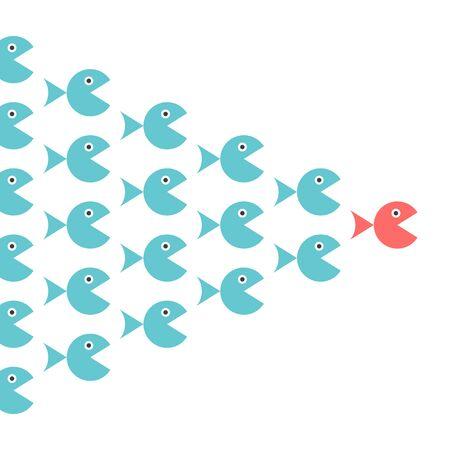 Einzigartiger Fischleitschwarm. Führung, Folgen, Motivation, Management, Teamwork und Mutkonzept. Flaches Design. EPS 8-Vektor-Illustration, keine Transparenz, keine Farbverläufe