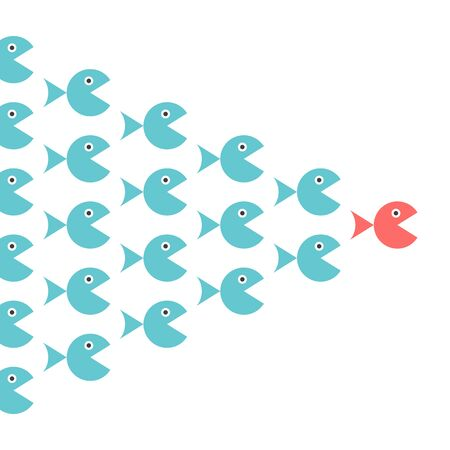 Unique fish leading shoal. Leadership, following, motivation, management, teamwork and courage concept. Flat design. EPS 8 vector illustration, no transparency, no gradients Ilustrace