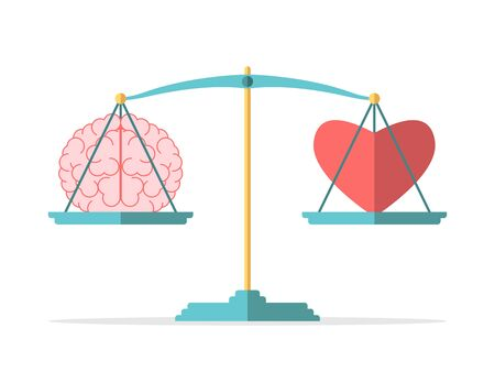 Emotion and intelligence balance, mind, feeling, choice, justice and mercy concept. Brain and heart on scales in equilibrium. Flat design. EPS 8 vector illustration, no transparency, no gradients Ilustración de vector