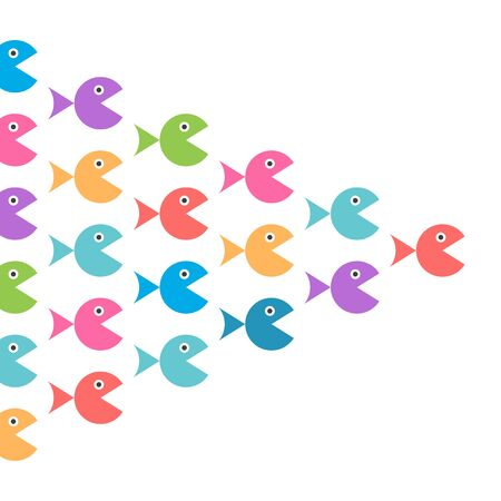 Shoal of various multicolor fishes on white. Diversity, variety, teamwork, competition and individuality concept. Flat design. EPS 8 vector illustration, no transparency, no gradients