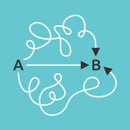 Semplici brevi rettilinei e complicati lunghi percorsi curvi da A a B. Vie facili e difficili, concetto di semplicità e confusione. Design piatto. Illustrazione vettoriale EPS 8, nessuna trasparenza, nessuna sfumatura Vettoriali
