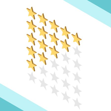 Isometric golden rating stars set from one to five isolated on white. Feedback, quality, satisfaction, opinion and voting concept. Flat design. EPS 8 vector illustration, no transparency, no gradients