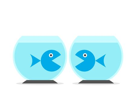 Two fishes in separate fishbowls. Separation, communication, relationship, yearning, obstacle, love and intimacy concept. Flat design. EPS 8 vector illustration, no transparency, no gradients Illustration