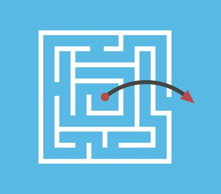 Square maze, arrow jumping above walls from centre outside. Shortcut, simple efficient solution, problem, creativity concept. Flat design. EPS 8 vector illustration, no transparency, no gradients