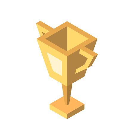 Isometric gold winner cup isolated on white. Simple minimal geometric goblet. Victory, sport, reward and achievement concept. Flat design. EPS 8 vector illustration, no transparency, no gradients 矢量图像