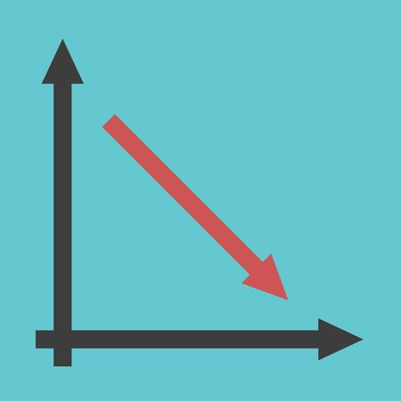 Red arrow line graph showing decline with axes on turquoise blue. Recession, crisis and decrease concept. Flat design. Vektorgrafik