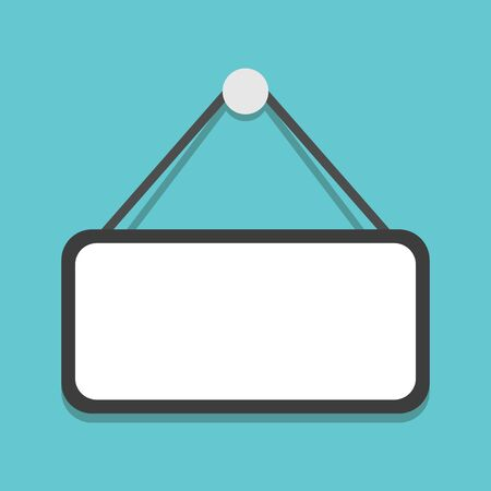 Empty plate hanging on turquoise blue background, copy space. Notice, message, information and advertisement sign template. Flat design.