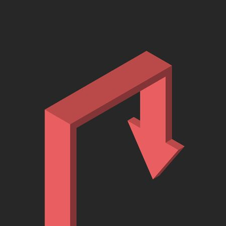 Isometric red arrow growing and falling on gloomy black background. Crisis, depression, despair, problem and recession concept. Flat design.