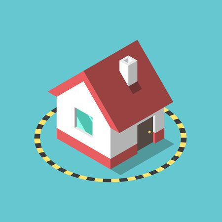 Isometric house in hazard tape circle on turquoise blue. Stay home, coronavirus pandemic, self quarantine  and isolation concept. Flat design.