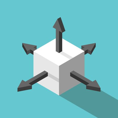 Isometric white cube with arrows in different directions. Confusion, choice, decision, indecision and opportunity concept. Flat design.