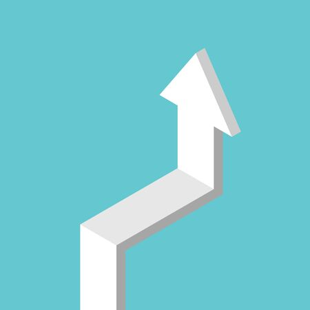 Isometric arrow with horizontal level and going vertical. Stage, stagnation, growth, crisis and phase concept. Flat design.