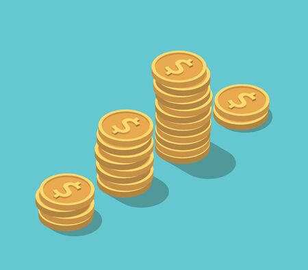 Isometric gold dollar coins stacks on turquoise blue. Financial crisis, sudden decrease, investment and market concept. Flat design.
