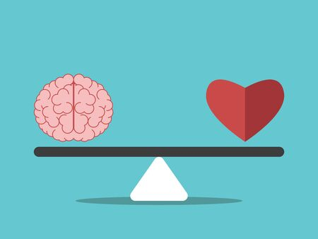 Brain and heart on seesaw weight scale. Mind and emotion balance, intelligence, feeling, choice, justice and mercy concept. Flat design. EPS 8 vector illustration, no transparency, no gradients