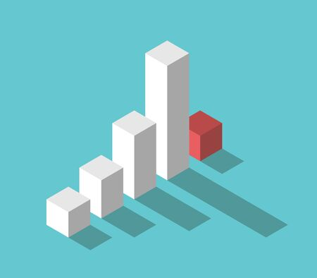 Isometric bar chart, abrupt drop after long growth on turquoise blue. Start of crisis, panic, investment and finance concept. Flat design. Ilustração