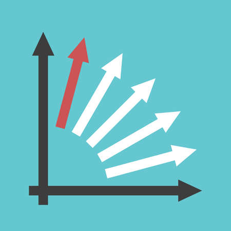Unique red arrow and many white ones with axes on turquoise blue. Investment, growth, competition and innovation concept. Flat design. EPS 8 vector illustration, no transparency, no gradients