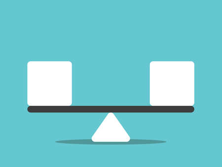 Seesaw weight scale weighing equal cubes. Balance, equilibrium, stability, equality and harmony concept. Flat design. Vector illustration, no transparency, no gradients Ilustração