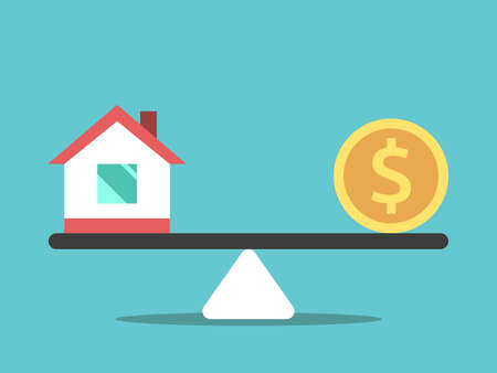 Small house and gold dollar coin on seesaw weight scale. Real estate, price, money, rent and home concept. Flat design. EPS 8 vector illustration, no transparency, no gradients