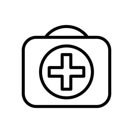 First aid kit isolated on white background outline icon. Emergency, doctor, healthcare and illness concept. Thin line art flat design. EPS 8 vector illustration, no transparency, no gradients Ilustração