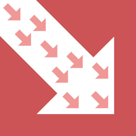 Small diagonal arrows in big main one, decreasing on red. Global economic crisis, recession, decline and investment concept. Flat design. EPS 8 vector illustration, no transparency, no gradients