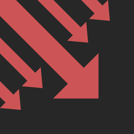 Many diagonal red arrows decreasing on black background. Global economic crisis, recession, decline and investment concept. Flat design. EPS 8 vector illustration, no transparency, no gradients