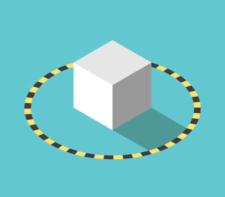 Isometric cube in quarantine or isolation boundary, black and yellow hazard circle. Social distancing, covid-19 pandemic concept. Flat design. EPS 8 vector illustration, no transparency, no gradients