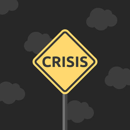 Crisis yellow road sign on black night sky background. Fear, economy, finance, pessimism and recession concept. Flat design. EPS 8 vector illustration, no transparency, no gradients
