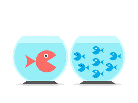 Different big fish in separate fishbowl and many small ones in another. Abundance, scarcity, separation, room and housing concept. EPS 8 vector illustration, no transparency, no gradients