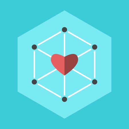 Heart uniting network. Love, inspiration, communication, management, altruism, teamwork, community and family concept. Flat design. EPS 8 vector illustration, no transparency, no gradients Ilustração