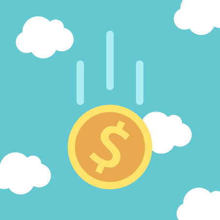 Gold dollar coin falling in turquoise blue sky with clouds. Financial crisis, savings, inflation and exchange rate concept. Flat design. vector illustration, no transparency, no gradients