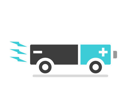 Electric car or bus moving. Battery shaped vehicle. Ecology, transportation, environment, technology and clean energy concept. Flat design. vector illustration, no transparency, no gradients