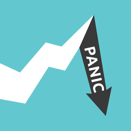 Graph showing sudden decrease with word panic after long growth. Fear, financial crisis, recession and investment concept. Flat design. vector illustration, no transparency, no gradients
