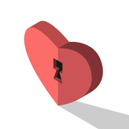 Heart shaped lock. Love, introversion, privacy, inspiration, relationship, marriage and soul concept. Flat design. EPS 8 vector illustration, no transparency, no gradients