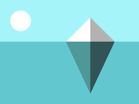 Iceberg landscape. Hidden risk, danger, climate change, global warming and nature concept. Flat design. EPS 8 vector illustration, no transparency, no gradients
