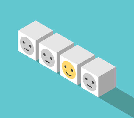 Unique happy smiling cube in row of unhappy indifferent ones. Positive thinking, joy, optimism and feedback concept. Flat design. EPS 8 vector illustration, no transparency, no gradients