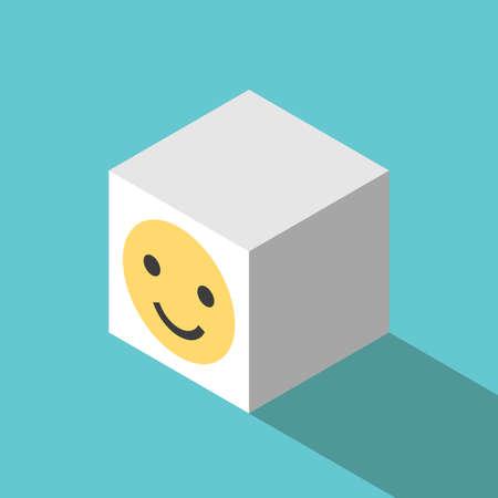 Smiling face cube. Happiness, joy, mental health, positive thinking, optimism and good feedback concept. Flat design. EPS 8 vector illustration, no transparency, no gradients Ilustração