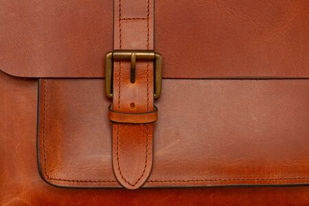 a buckly of brown leather briefcase Stok Fotoğraf