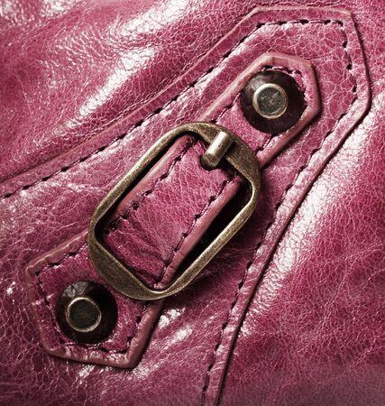 metal fastener: Metal fastener close up on an violet  leather