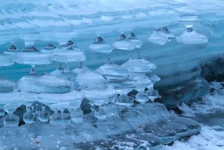 katun: icicles on mountain river . winter background, Altai