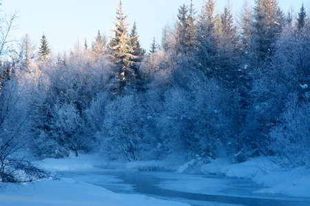 Beautiful winter sunset on the river Lena in Russia