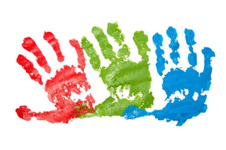 handprints: Three childs handprints Stock Photo