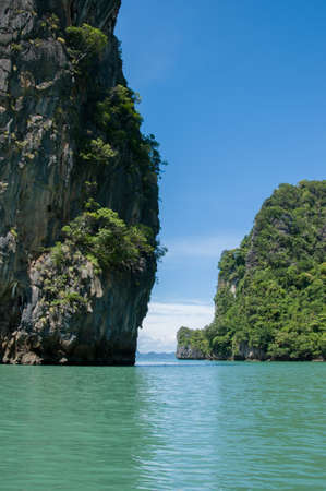 phangnga: Cliffs on the Island in the Bay. Islands at Phang Nga Bay near Krabi and Phuket. Thailand. Stock Photo