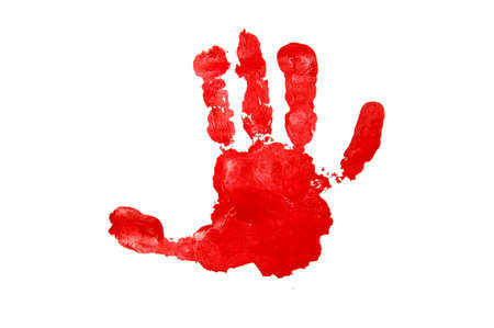 red sign: Childs handprint with red textured paint isolated on white background.