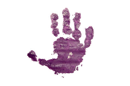 bloody hand print: Childs handprint with purple textured paint isolated on white background. Stock Photo