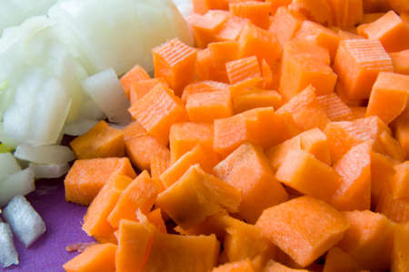 diced: Carrot and onion diced closeup